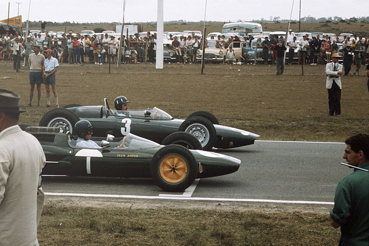 Graham Hill and Jim Clark line up on the start line for the title-deciding South African GP, which Hill won