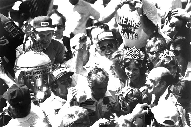 Rick Mears clinches the first of his four Indianapolis 500 victories