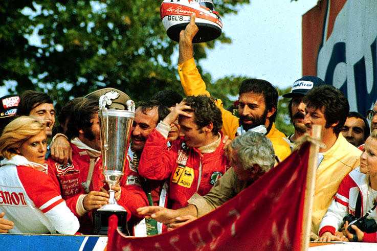 Niki Lauda claims the first of his three world championships