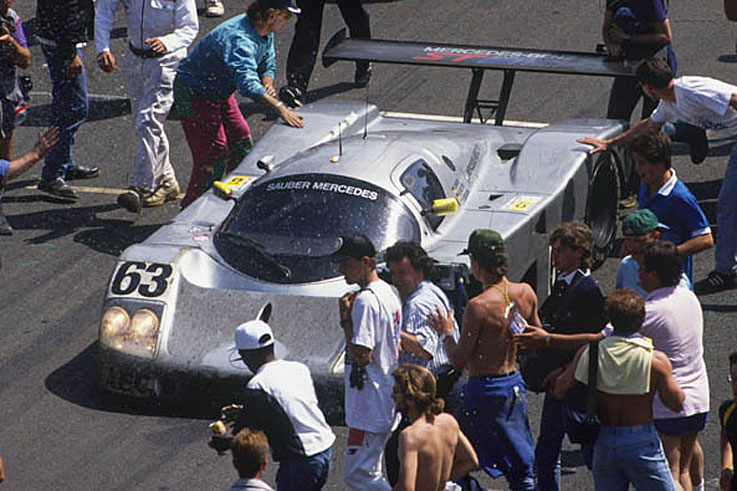 Jochen Mass, Manuel Reuter and Stanley Dickens win the Le Mans 24 Hours for Sauber