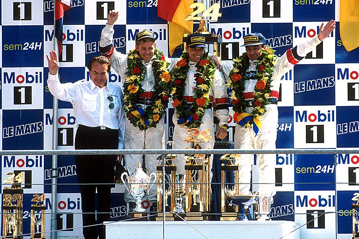 Michele Alboreto, Stefan Johansson and Tom Kristensen win Le Mans for Porsche