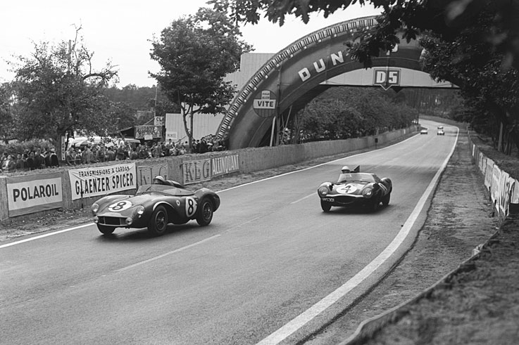 Jaguar's D-Type (#4) wins the Le Mans 24 Hours for the second time