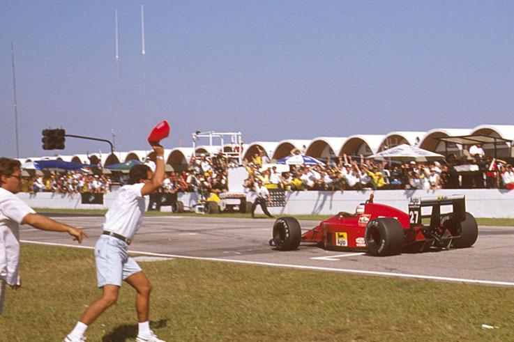 Nigel Mansell wins on his Ferrari debut at Jacarepagua