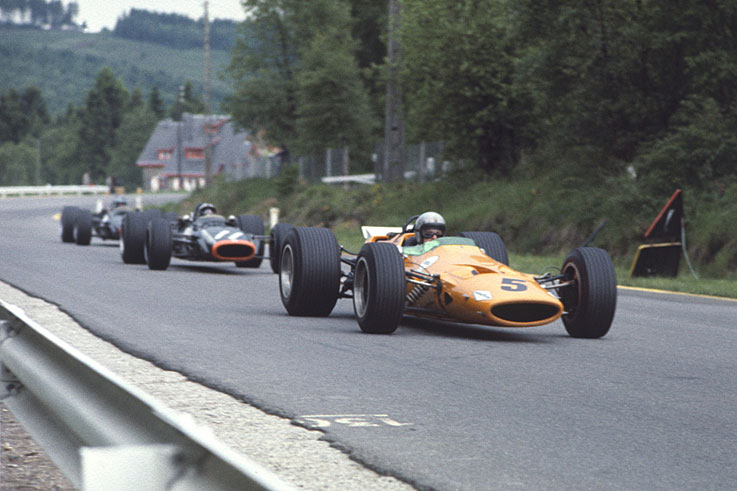 Bruce McLaren scores his team's first world championship victory at Spa