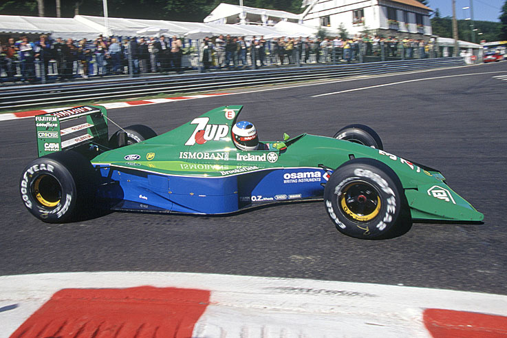 Michael Schumacher makes his Formula 1 debut with Jordan at Spa