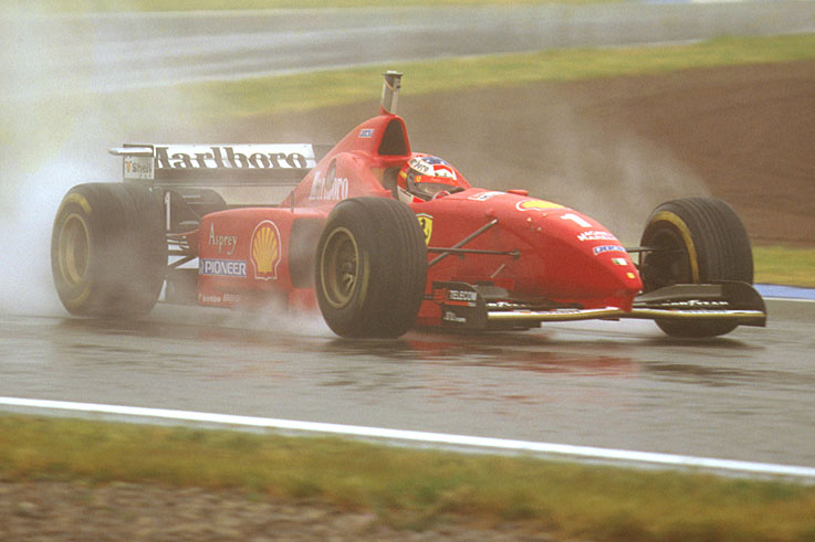 Michael Schumacher scores his first Ferrari win in the rain at Barcelona