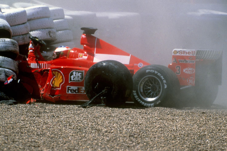 Michael Schumacher breaks his leg in a crash in the British Grand Prix