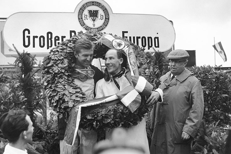 Wolfgang von Trips (pictured with Stirling Moss) is killed during the Italian Grand Prix