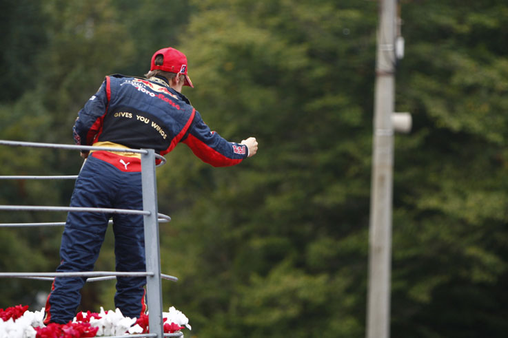 Sebastian Vettel takes a shock win for Toro Rosso in the rain at Monza