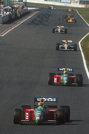 Nelson Piquet leads Roberto Moreno at Suzuka 1990