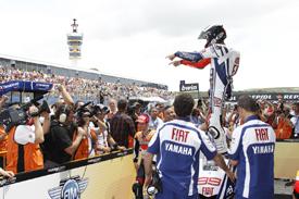 Jorge Lorenzo celebrates Jerez victory