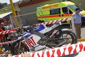 Valentino Rossi's crashed bike at Mugello