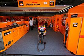 Dani Pedrosa's empty garage at Motegi