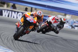 Casey Stoner leads Jorge Lorenzo at Laguna Seca