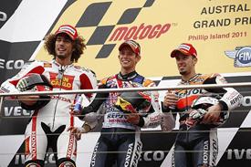 Simoncelli towers over Casey Stoner and Andrea Dovizioso on the Phillip Island podium