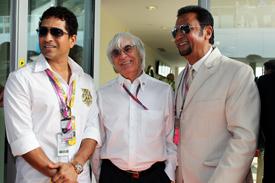 Bernie Ecclestone Sachin Tendulkar Gulshan Grover 2011 Indian grand prix