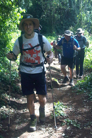 Sims ascended around 800m on the first day of his climb