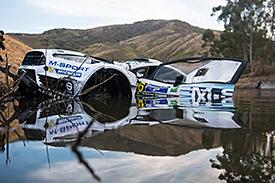 Ott Tanak crashes into lake, WRC Mexico 2015