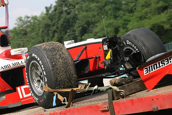 Jules Bianchi crash damage, Hungaroring GP2 2010