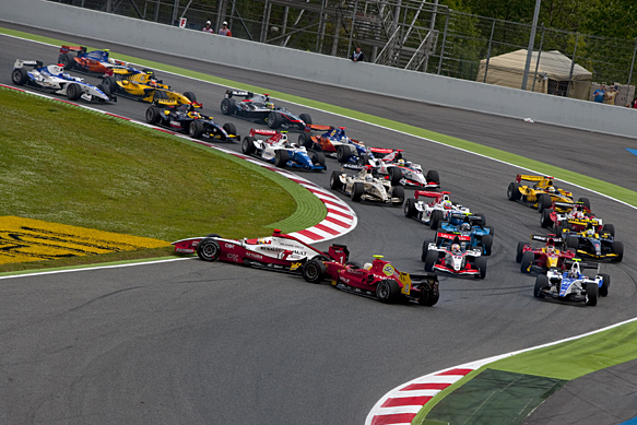 Jules Bianchi and Christian Vietoris collide, Barcelona GP2 2010